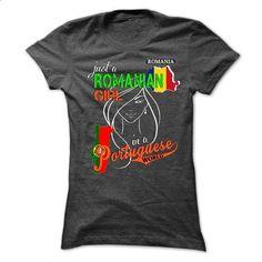 Just a Romanian Girl in a Portuguese World - #denim shirt #tshirt bemalen. CHECK PRICE => https://www.sunfrog.com/LifeStyle/Just-a-Romanian-Girl-in-a-Portuguese-World.html?68278
