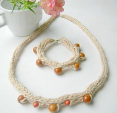 Knitted Organic Cotton Necklace Bracelet Set , $24.00