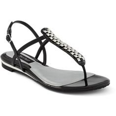 Patent Leather Embellished Sandal ($30) ❤ liked on Polyvore featuring shoes, sandals, flats, sapatos, black, black pointy flats, black patent flats, embellished flats, black flat shoes and black patent sandals