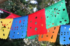 DIY craft for this weekend: Colorful Mexican Cutout Flags!