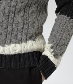 Mens Grey Tonal Cable Knit Jumper - Reiss Rivers