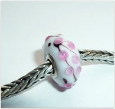 Luccicare Lampwork Bead - Pink Bonsai -  Lined with Sterling Silver