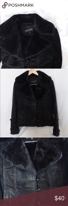 Steve Madden • genuine leather faux fur jacket Very warm genuine soft leather jacket. Leather is very soft and looks faded. gives it an old biker style look to it. Condition shown in 3rd pic. Steve Madden Jackets & Coats