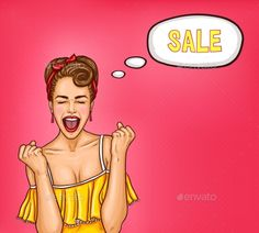 Pop Art Illustration of an Enthusiastic Woman by vectorpocket Vector pop art illustration of an enthusiastic sexy woman thinking about a sale. An excellent advertising poster for the announcem