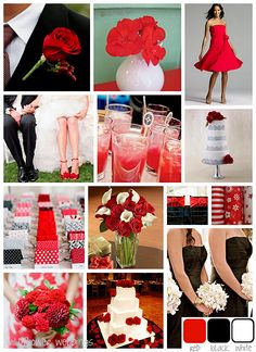 like most of this, except all the flowers would be red roses, and the bridesmaid dresses would be deep red instead of black.