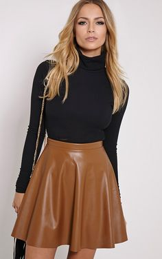 Skater Skirt Makes You Look Elegant Even With Simple Style : Skater Skirt Brown