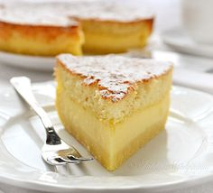 Grandmas Magic Cake | This old fashioned and easy cake recipe is beautiful and delicious! You'll especially like the custard-like layer in the middle.