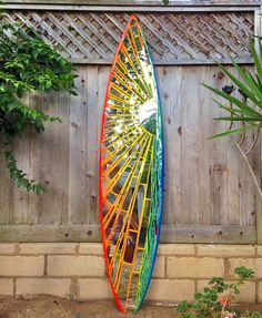 """""""Sunrise"""" Mirror Mosaic Surfboard More♥ Mirror Mosaic, Mosaic Diy, Mosaic Garden, Mosaic Crafts, Mosaic Projects, Mosaic Glass, Mosaic Tiles, Stained Glass, Glass Art"""