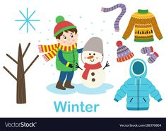 Isolated winter set with boy tree and clothes vector image on VectorStock Math For Kids, Yoga For Kids, Diy For Kids, Camping Crafts For Kids, Animal Crafts For Kids, Dinosaurs Preschool, Preschool Activities, Alphabet Activities, Toddler Activities