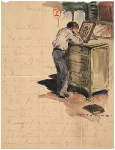 """Paul Branson's letter to his sweetheart actress Grace Bond, showing him looking at her photograph in 1905. """"In my minds [sic] eye I can see Hollis Street Theater & the stage door so plainly. Oh! I wish I were there with you."""""""