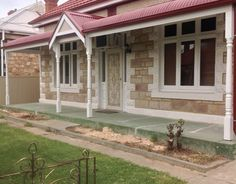 Bullnose Verandah with Colorbond Roofing - All Type Roofing Facade House, House Facades, House Extensions, Home Additions, House Front, Entry Doors, House Colors, Homesteading, Gazebo