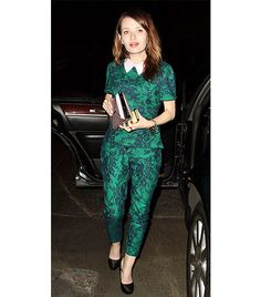@Who What Wear - Emily Browning Tip: Matching Separates + Metallic Clutch  On Browning: Erdem Lanka Lace Top ($1165); Erdem Connelly Lace Trousers ($1685)  Get The Look: Zara Printed Top ($100); Zara Printed Trousers ($100); Pieces Daniella Metallic Clutch Bag ($29)