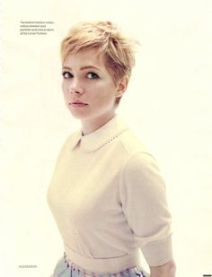 Michelle Williams Pixie Cut Elle Magazine messy