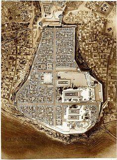 Stadtplanung der historischen Stadt. Plan of the ancient city of  Selinunte