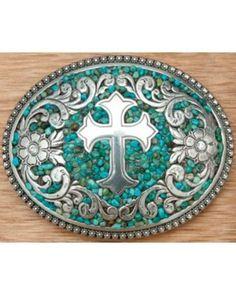 Nocona Turquoise Stones w/ Silver Cross & Flowers Western Belt Buckle