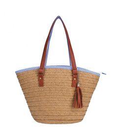 Straw Beach Bag Handbags Shoulder Bag Tote-Cotton Lining-PU Leather Handle-Eco  Friendly - Brown Medium - Bags fb4f99ff19e6c