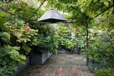 Lush terrace in the Rooftop Garden, Garden Pool, Balcony Garden, Shade Garden, Garden Beds, Garden Art, Garden Landscaping, Back Gardens, Outdoor Gardens