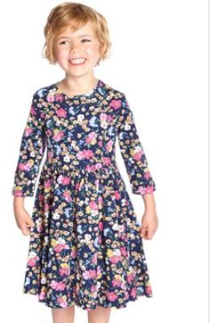 Girls Three Quarter Sleeve Dress, Navy Floral - Apply Joules Discount Codes to get free delivery on bulk order