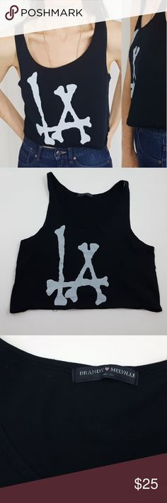 Brandy Melville LA bones crop tank - B5 Brandy Melville cropped LA tank. One size. Used item, pictures show any signs of wear or use. Bundle up! Offers are always welcome.  :)  Shop my husband's closet!: @kirchingeraaron Brandy Melville Tops Crop Tops