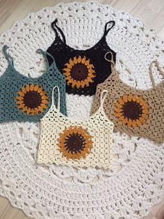 Sunflower crochet top size m 38 etsy how to crochet a little black crochet dress Mode Crochet, Crochet Baby, Knit Crochet, Crochet Summer, Crochet Sunflower, Crochet Flowers, Easy Knitting Projects, Crochet Projects, Crochet Designs