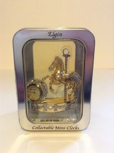 New In Box Rare Elgin Collectible Mini Clock Carousel Horse Mantle Time #Elgin