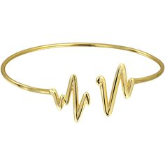Bling Jewelry Bling Jewelry Gold Plated Modern Heartbeat Stackable... ($28) ❤ liked on Polyvore featuring jewelry, bracelets, accessories, rings, heart bangle, gold plated jewellery, valentines day jewelry, stacked bangles and hinged bracelet