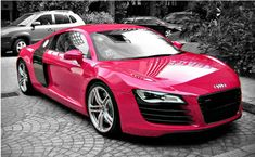 Pink Audi R8..I've been wondering what an R8 looks like since Christian bought one for Ana:) let me say I'm in lovee