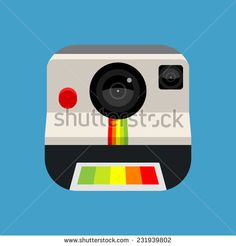 Retro Instant Camera Vector Icon. Template with web user interfaces (UI) and applications (apps) - stock vector