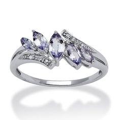 $84 Tanzanite and diamond accent ring - Platinum over silver jewelry