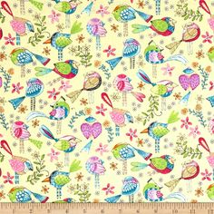 From Michael Miller, shake off the winter blues with this cheerful cotton print collection. It features cute little birds, birdhouses, flowers, and other bright prints that are perfect for quilting, apparel, and home decor accents. Colors include yellow, blue, shades of pink, purple, green, orange, and white.