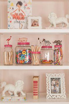 caitlin wilson via design*sponge - cute diy mason jar storage Mason Jar Storage, Diy Storage, Mason Jars, Diy Jars, Storage Ideas, Creative Storage, Glass Jars, Hair Tie Storage, Reuse Jars