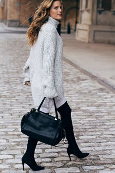 Grey chunky knit sweater, white denim, black over the knee boots