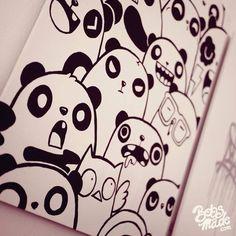 Awe how cute! Diy Panda, Panda Love, Panda Drawing, Doodle Art Drawing, Kawaii Doodles, Cute Doodles, Cartoon Drawings, Cute Drawings, Doodle Inspiration
