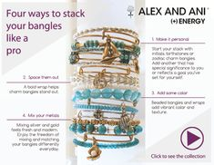 4 ways to stack your Alex and Ani bangles like a pro. Alex And Ani Bangles, Alex And Ani Jewelry, Jewelry Box, Jewelery, Jewelry Making, Diy Jewelry, Version Francaise, Thing 1, Making Ideas