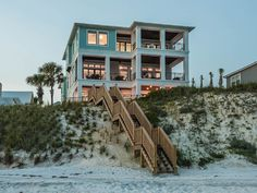 "beach house - ""Painted Sky"" Luxury Beach Front Home with Private Pool & Jacuzzi! Panama City Beach Florida, Florida Home, Cottages By The Sea, Beach Cottages, Villas, Florida Rentals, Haus Am See, Beachfront House, Beach House Decor"