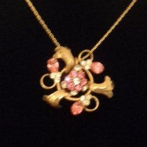 20% off with Coupon! Goldtone Chain Necklace with a Floral Pendant featuring Pink and Clear Rhinestones. www.CCCsVintageJewelry.com Free Shipping to the US. Use Coupon Code 090516