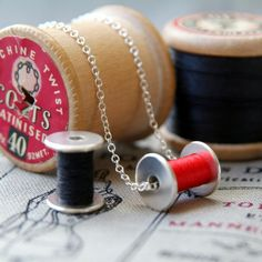 silver sewing necklace cotton reel bobbin necklace  ANY COLOUR £45.00