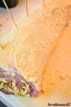 Cordon bleu pork loin recipe is stuffed full of ham and swiss cheese rolled up in a creamy mustard sauce and encrusted in a parmesan crust. Keto Pork Loin Recipe, Creamy Mustard Sauce, Stuffed Pork, Cheese Rolling, Parmesan Crusted, Swiss Cheese, Cordon Bleu, Pork Recipes, Ham