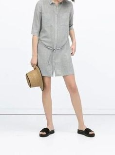 Women's Grey Shirt Dress - Turned Down Collar / Above The Knee Length