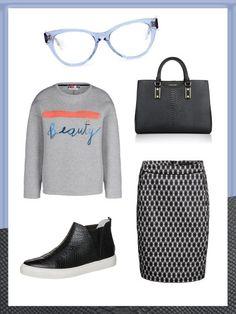 What to wear to work: das perfekte Büro-Outfit. Heute Casual Chic mit Sneakern, Sweatshirt und Hornbrille.