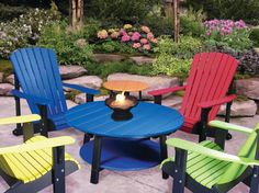 Deluxe Adirondack Chairs with Conversation Table & End Table