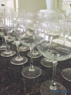 Wine glasses for miles at my #Goodwill.  #thrift #entertain #recycle