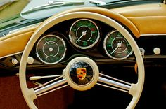 1956 Porsche 356 A Speedster Steering Wheel Emblem - by Jill Reger