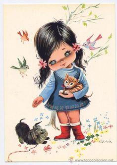 Cute Cartoon Characters, Cartoon Pics, Cute Images, Cute Pictures, Vintage Cat, Colorful Drawings, Time Art, Disney Drawings, Cute Dolls