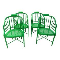 Baker Faux Bamboo Chairs... so want these for my dining room... just not bright green.