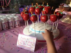 Doc McStuffin's Birthday Party for Doc Cora! Apple shaped Cake Pops to keep the doctor away! Perfect for little toddlers to munch on!