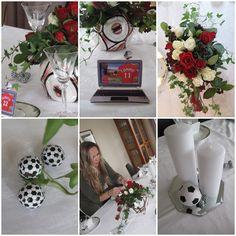 Til en fotballgutt! Table Decorations, Party, Graduation, Football, Tips, Mariage, Dekoration, Soccer, Futbol