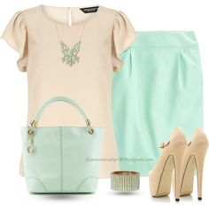 """Nude & Mint"" by shannonmarie-94 on Polyvore"
