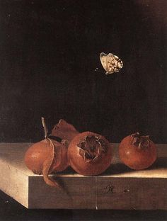 Adriaen Coorte: Three Medlars with a Butterfly, 1705.