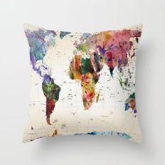 Throw Pillow featuring Map by Mark Ashkenazi